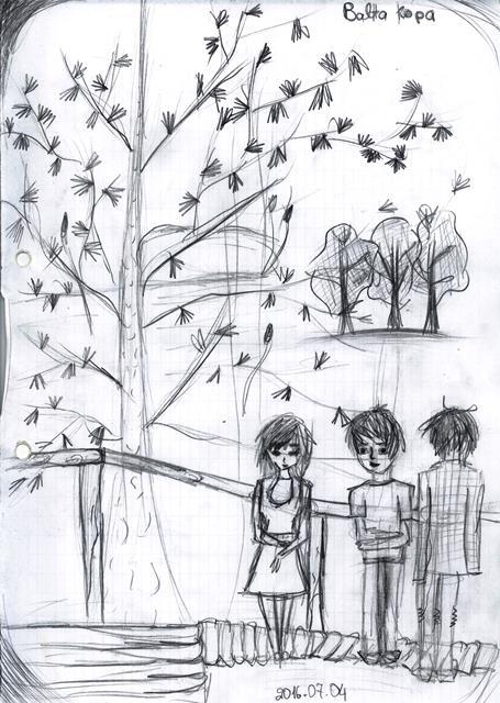 Balta kopa. Piešinio autorė - Diana.